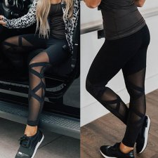 Leggings de yoga en maille noire