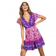 V-Neck Floral Summer Casual Dress with Cap Sleeve