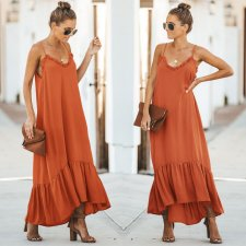 Sheer Long Straps Ruffle Dress