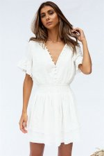 Casual V-Neck Layer Skater Dress
