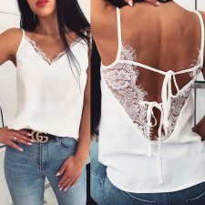 White Lace Sexy Straps Vest with Lace Details