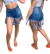 Stylish Tassles Denim Shorts