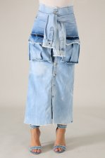 High Waist Long Denim Pocket Skirt