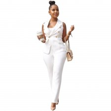 White Sleeveless Office Suit
