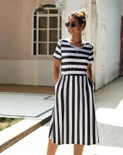 O-Neck Stripped Long Casual Vestido De Bolso