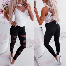 Leggings negros de yoga de remiendo