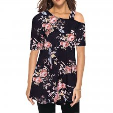 Fit-and-Flare Floral Shirt with Irregular Shoulder