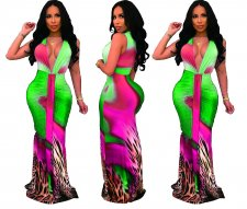 Deep-V Sexy Colorful Mermaid Long Dress