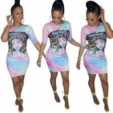 Character Colorful Tight Shirt Dress
