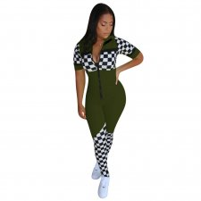 Sports Print Zipped Up Bodycon Jumpsuit
