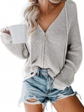 Zipper Up V-Neck Loose Sweater