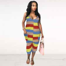 Sexy Colorful Straps Pocket Jumpsuit