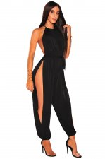 Open Back Sexy Slit Halter Jumpsuit