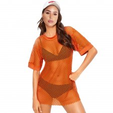 Sexy Fishnet O-Neck Tall Shirt