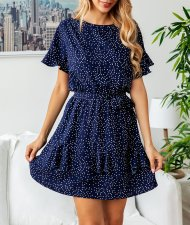 Print Short Layer Dress with Belt
