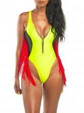 High Cut One-Piece Zipper Swimwear