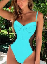 High Cut One-Piece Straps Patchwork Swimwear