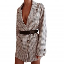 Turndown Collar Long Sleeve Plaid Long Blazer
