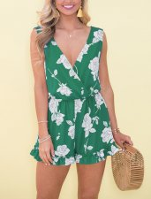 Floral Sleeveless Wrap Rompers