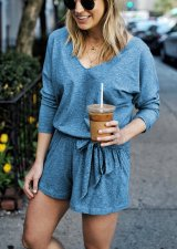 Pure V-Neck Long Sleeve Rompers