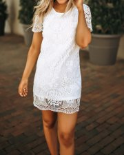 Lace O-Neck Mini Dress with Short Sleeves