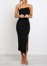 Pure Straps Slit Long Formal Dress