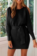 Casual Loose-and-Fit Belt Dress with Ripped Sleeve