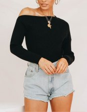 Pure Slash Schouder Basic Sweater