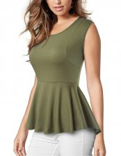 Pure Sleeveless Fit-and-Flare Peplum Top