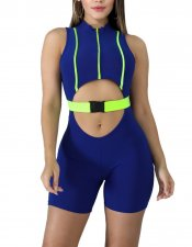 Keyhole Sleeveless Sports Bodycon Rompers