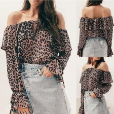 Off Shoulder Long Sleeve Leopard Blouse