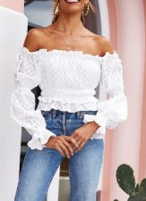 White Off Shoulder Peplem Top with Pop Sleeves