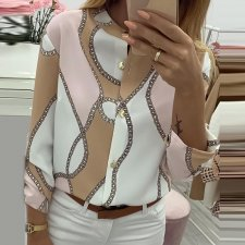 Print Contrast Long Sleeve Chic Blouse