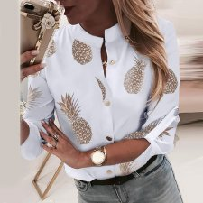 Print White Long Sleeve Chic Blouse