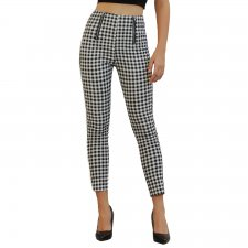 White and Black Plaid Tight Trousers