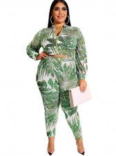 Plus Size Print Long Sleeve Jacket and Pants