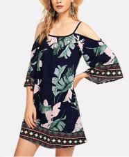 Bohemian Straps Mini Dress with Half Sleeves