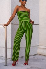 Stripes Print Strapless Casual Jumpsuit