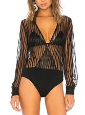 Black Stripes Long Sleeve Sexy Bodysuit