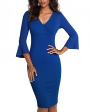 Plain Solid V-Neck Midi Dress with Wide Cuffs