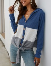 Contrast V-Neck Button Up Hoody Shirt