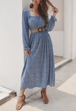 Floral Print Square Long Dress with Pop Sleeves