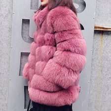 Plain Solid Stripes Fur Coat with Pockets