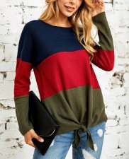 Round Neck Contrast Knot Fall Shirt