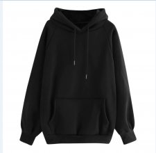 Casual Blank Drawstring Hoody Top with Front Pocket