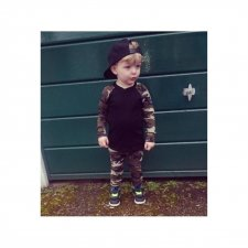 Kids Boy Camou Print Fall Shirt and Pants Set