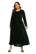 Plus Size Velvet Long Dress with Full Sleeves