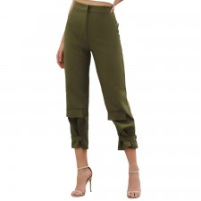 Casual Green 2/3 Length Pants