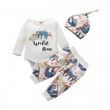 Baby Boy Print Rompers and Pants, Hat Set