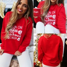 Red Print Christmas Round Neck Sweat Shirt